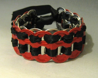 Recycled Beer Can Tab Bracelet Red Tabs