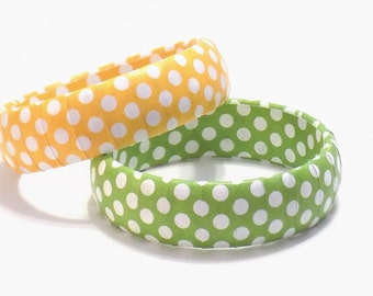 Polka Dot Bracelets, Polka Dot Jewelry, Retro Bangle, Yellow with White Dots, Green with White Polka Dots, Summer Bracelet