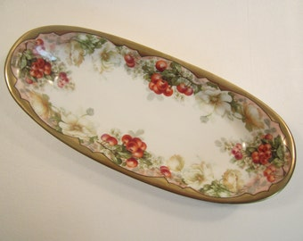 Antique Imperial Crown China Austria Celery Dish Relish Tray Bawo & Dotter Cherries Cherry Blossoms
