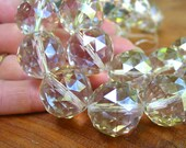 Large 16mm 20mm Champagne Tan semi AB Designer Crystal Faceted Round Beads disco ball  PICK SIZE