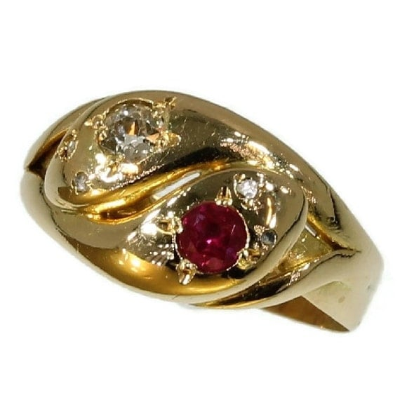 antique gold snakes ring ruby by adinantiquejewellery