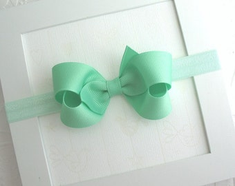 Mint Green Hair Bow Headband, 3 inch Mint Green Boutique Bow Headband for Newborn, Infants, Baby Girls, Toddlers ~ Handmade Hair Accessories
