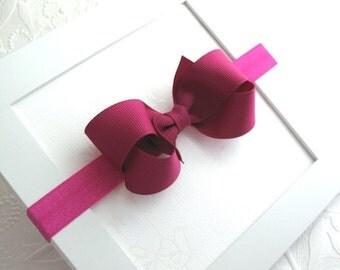 Fuchsia Baby Boutique Bow Headband, Baby Girl Headband, Fuchsia ~ Magenta Hair Bow, Baby Headband, Baby Bow Headband, 3 inch Boutique Bow