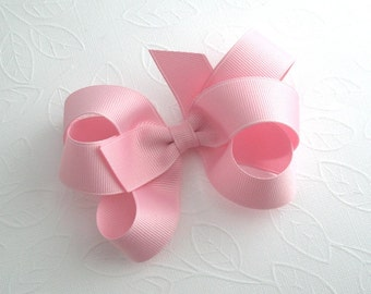 Pastel Pink Hair Bow, Pinwheel Bow, Toddler Hair Clip, Girls Hair Accessories, Large Bow, Pink Hairbow