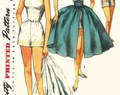 Vintage 1950s Playsuit Pattern - Simplicity 1605 - Junior Misses' One-Piece Playsuit in 2 Variations with Skirt & Cummerbund - Sz 11/Bust 29