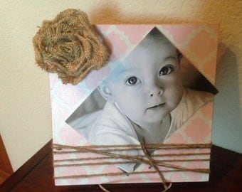 Moroccan Frame with Burlap Rose