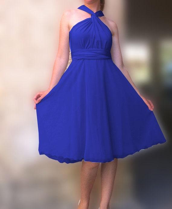 Chiffon Infinity Dress: Infinity Dress With Chiffon Layer Royal Blue Color By Linaline