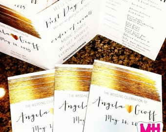 Trifold Wedding Program with Faux Gold Stroke