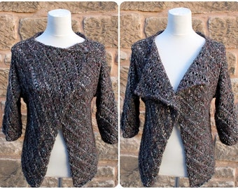 CARDIGAN, womens JACKET, knitted WRAP, vegan sweater, asymmetric lace jacket, cotton cardigan