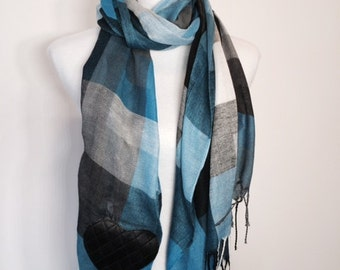 Blue and Black Checkers with Faux Leather Heart Scarf