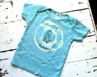 12-18m Kids Organic Patience Buddha T Shirt - Earthy Blue