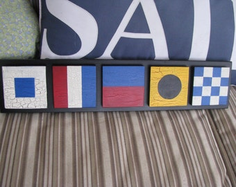 5 Small Nautical Signal Flag  Signs Mounted on White or Black