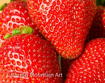 Strawberry art for kitchen.  Fruit wall art or kitchen wall art from food photography.  Fine art print for kitchen decor or wall art.
