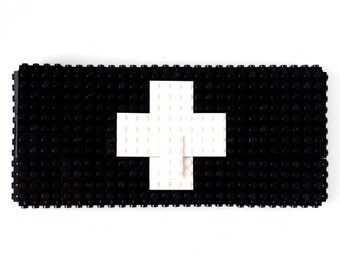 Black clutch purse with white cross sign made with LEGO® bricks FREE SHIPPING purse handbag legobag trending fashion