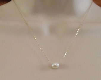 Floating Pearl Necklace on 14kt Gold Filled Chain or Sterling Silver Chain with Wire Wrapped Pearls on Each End of Chain in Three Lengths