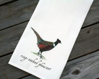 ONLY 1 LEFT! Pheasant Tea Towel Kitchen Towel Linen and Cotton Watercolor Prints Sandbox Original Dish Towel Dishtowel
