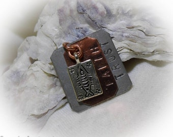 Faith Trust Hand Stamped Personalized Necklace Aluminum Copper