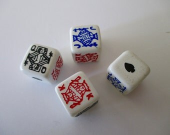plastic dice - 4 pieces - Poker, game, red, black, blue