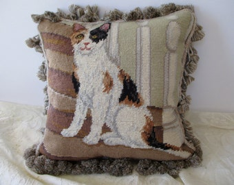needlepoint PILLOW with a calico cat - brown, beige, fringe, wool, velvet, petit point