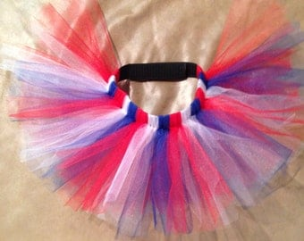 Red, White, and Blue Patriotic Dog Tutu with Adjustable Velcro Waist