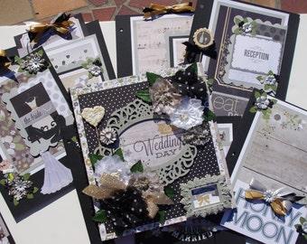 Our Wedding Day 8.5x11 Scrapbook Book Binder Album, journal tags
