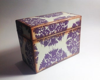 Recipe Card Box- Vintage Damask Inspired