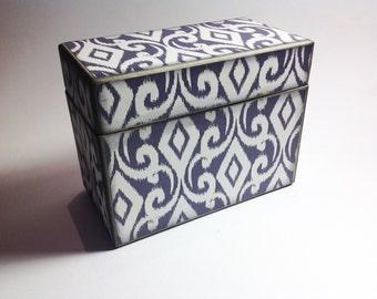 LIMITED QUANTITIES Recipe Card Box- Grey Modern Damasked