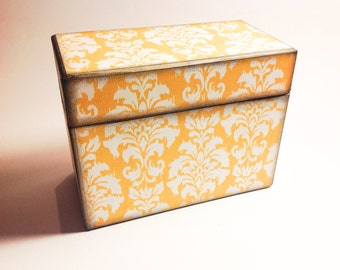 Recipe Card Box- Yellow / Mustard Damask