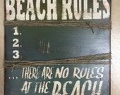 Wood Distressed Beach Rules Sign