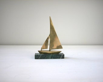 Vintage Brass and Marble Sailboat