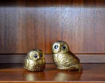 vintage gold ceramic owl figurines