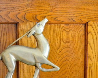 vintage hollywood regency brass gazelle figurine