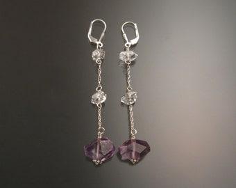 "Natural Polished Amethyst Crystal and Herkermer ""Diamond"" Quartz crystal earrings Sterling Silver handcrafted long dangle earrings"