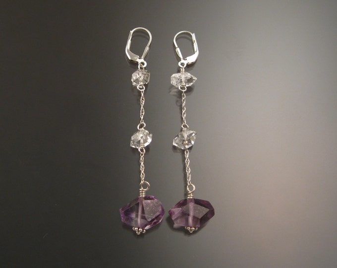 "Natural Polished Amethyst Crystal and Herkermer ""Diamond"" Quartz crystal earrings Sterling Silver handcrafted long dangle earrings"