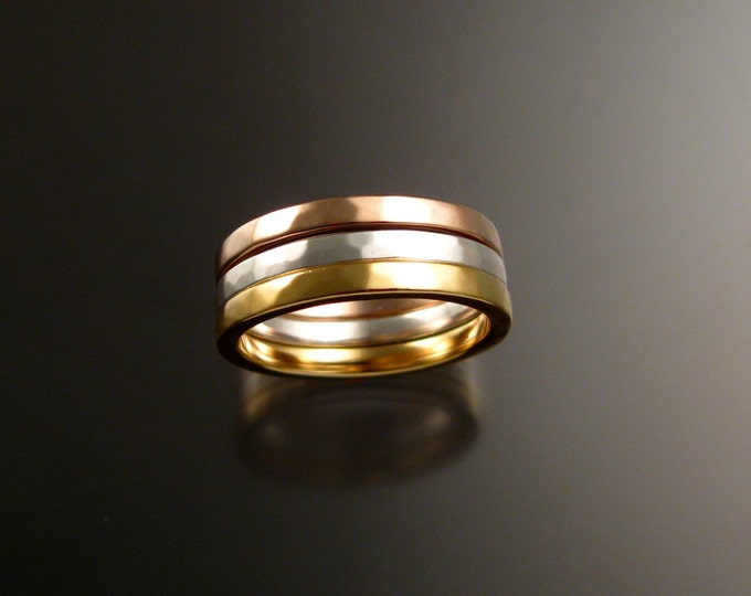 14k White, Yellow and Rose Gold three Band stackable gold ring set