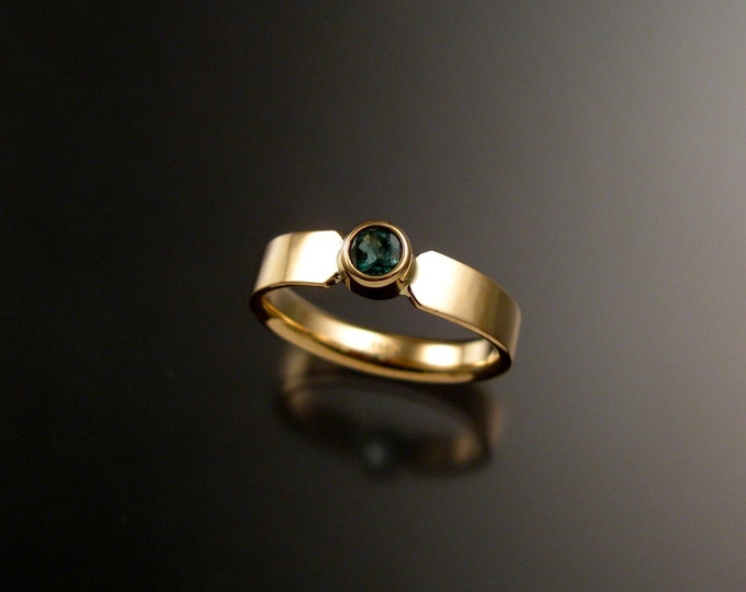 Emerald Wedding ring 14k Yellow Gold bezel set ring made to order in your size