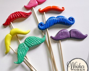 Rainbow Photo Booth Props - Mustaches on a Stick - Set of 7