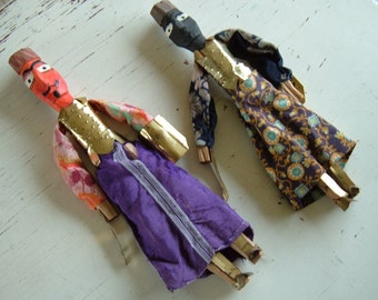 REDUCED APAIR Two Unusual Primitive Dolls, Wood, Metal and Cloth, Possibly Moorish or Turkish. 17 and 15 Inches Tall