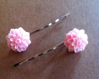 Resin flower clips - Flower bobby pin set - resin flower hair pin set