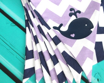 Navy and Purple Chevron Bunting Banner with Whale