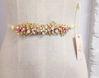 Blush Gold Leaf Crystal Bridal Sash- Gold Crystal Bridal Belt- Swarovski Crystal Bridal Sash