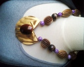 Vintage Golden Aged Metal & brown Glass stone Pendant w vintage wood and purple marble Jasper stone beads - 24 inch