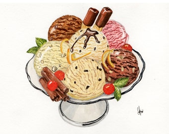 Ice Cream -- ORIGINAL Watercolor Paiting A5