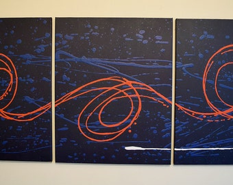"triptych huge wall art  wall hanging ""Big Blue 2""  huge canvas art 3 panel wall art three panel wall decor home decor 3 BIG SIZES"