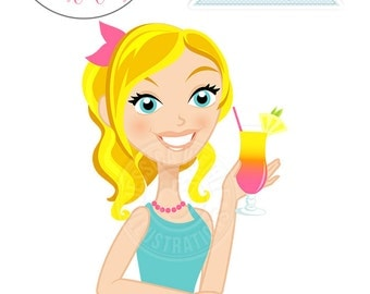 Cute Girl wtih Hurricane Drink Character Illustration, Blonde Hair Woman, Woman Character, Woman with Drink Illustration, Blog Character