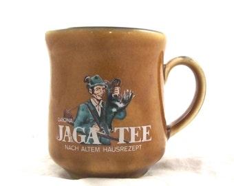 Vintage Jaga Tee Mug, Light Brown Ceramic Coffee Cup (FZ)