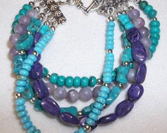 Multi-Strand Turquoise and Lavender Bracelet