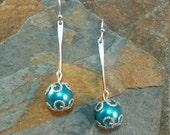 Long Blue Silver Earrings, Long Pearl Blue Silver Earrings, Blue Pearl Long Silver Earrings