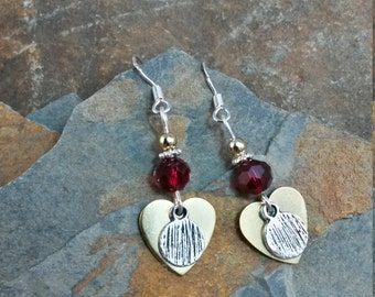 Gold Red Heart Sterling Silver Earrings, Gold Silver Red Heart Sterling Earrings, Heart Earrings