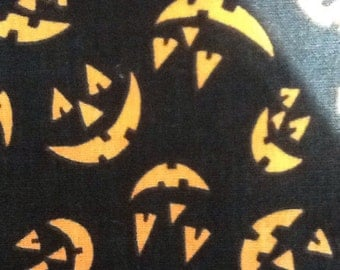 Vintage Halloween Fabric Jackolanterns Black Orange Carved Pumpkins